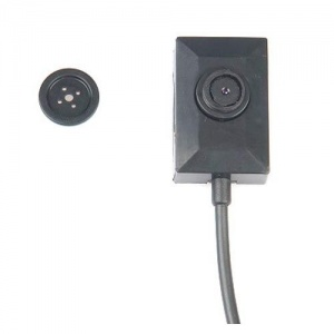 Shirt Button Spy Video Camera with Battery Power Lead